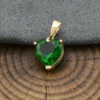 Кулон Xuping Jewelry Сердце зеленое медицинское золото, позолота 18К А/В 5124