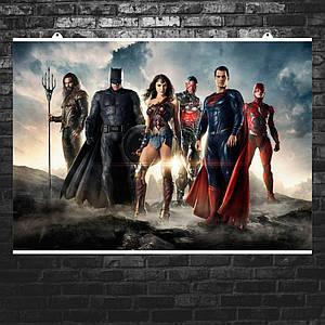 """Постер """"Лига Справедливости. Главные герои и Супермен"""". Justice League, DC, Бэтмен. Размер 60x43см (A2). Глянцевая бумага"""