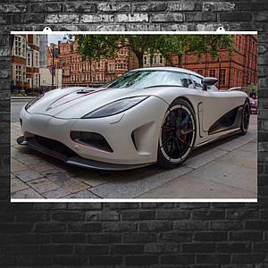 """Постер """"Koenigsegg Agera R"""", гиперкар, авто крупным планом. Размер 60x40см (A2). Глянцевая бумага"""