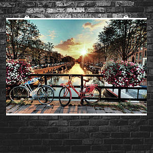 """Постер """"Цветы и велосипеды. Амстердам, Нидерланды"""". Размер 60x40см (A2). Глянцевая бумага"""