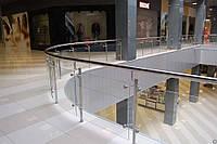 Ограждение атриумов со стеклом на стойках квадратные стойки и поручень