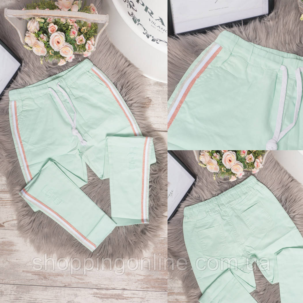 0920-2 бирюзовые Flnn брюки женские летние стрейчевые (25-30, 6 ед.)