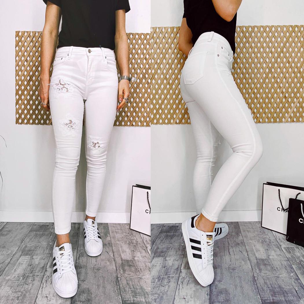 0420 Periscope джинсы женские белые с декоративной отделкой летние стрейчевые (36-42, евро, 8 ед.)