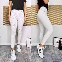 0420 Periscope джинсы женские белые с декоративной отделкой летние стрейчевые (36-42, евро, 8 ед.), фото 1