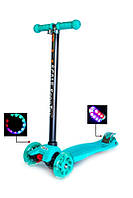 Детский самокат трехколесный скутер ABEC-7 MAXI бирюзовый