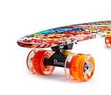 "Скейт скейтборд пенни борд Nickel 27"" светящиеся колеса graffiti, фото 2"