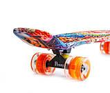 "Скейт скейтборд пенни борд Nickel 27"" светящиеся колеса graffiti, фото 3"