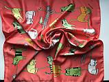 Шейный платок с добавкой  натурального шёлка цвет красный с рисунком котов, фото 2