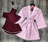 Розовый халат и вишневая пижама комплект тройка 047-021.