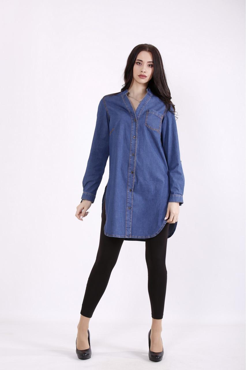 Синя джинсова сорочка жіноча великого розміру 42-74. J01447-2