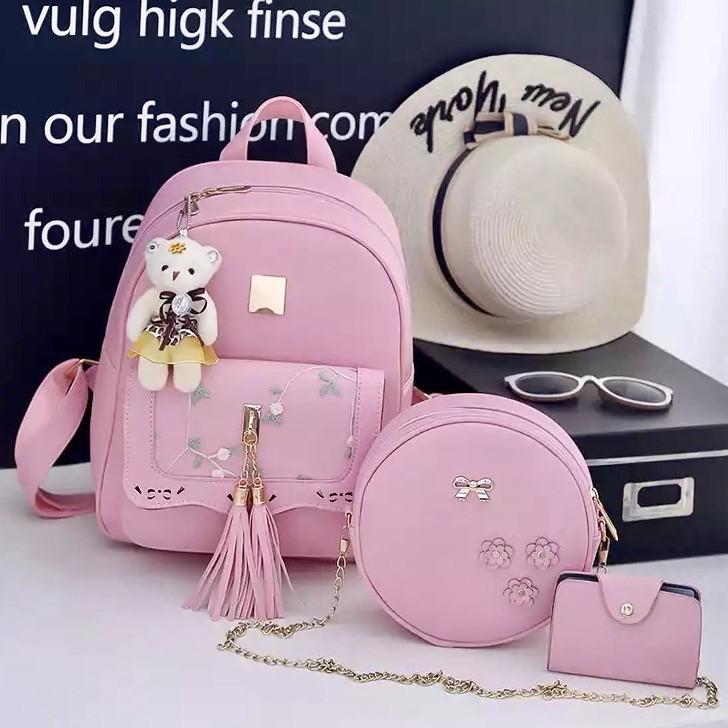 Жіночий рюкзак міський Кароліна рожевий набір 3 в 1 з брелоком ведмедик