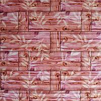 Самоклеющаяся декоративная 3D панель бамбуковая кладка оранжевая  700*770*7.4мм