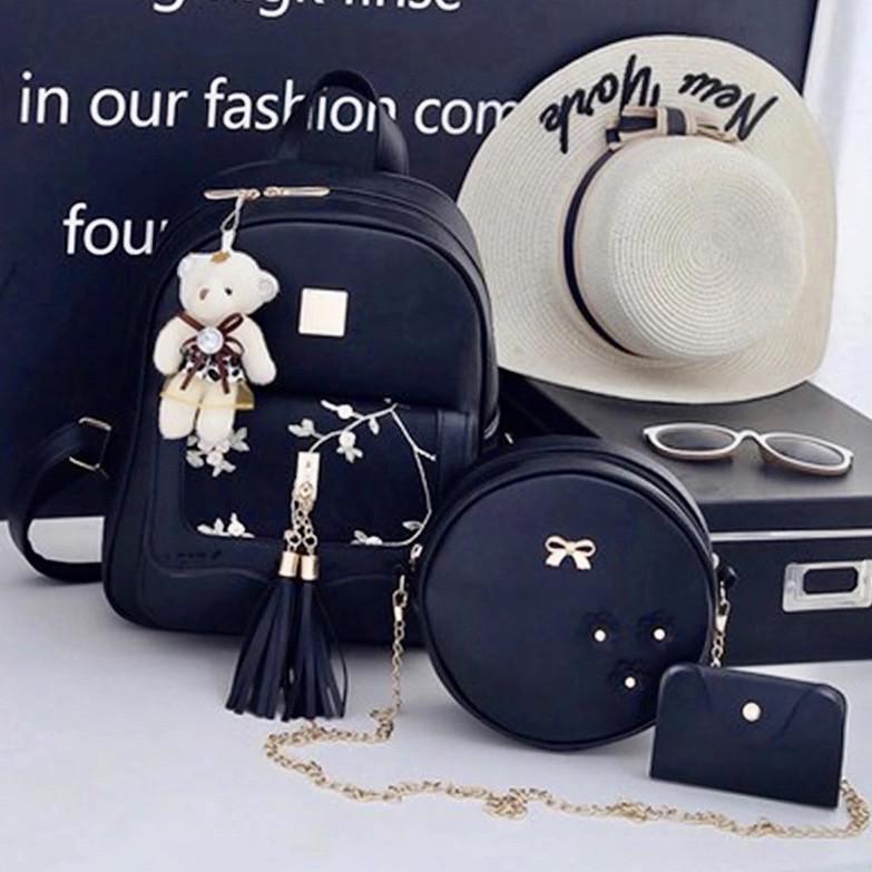 Модные женские рюкзаки из экокожи для города Каролина набор 3 в 1 с сумочкой, визитницей и брелком мишка
