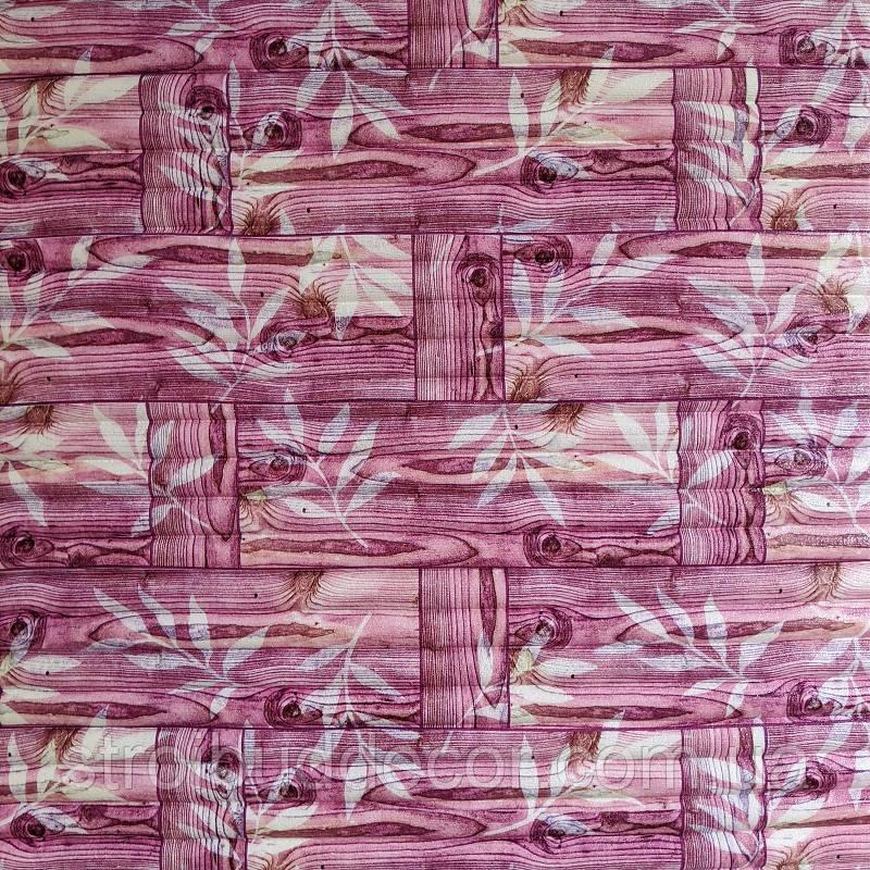 Самоклеющаяся декоративная 3D панель бамбуковая кладка розовая  700*770*7.4мм