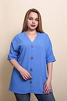 Женская летняя блуза - туника голубого цвета. Размеры 52, 54, 56, 58.