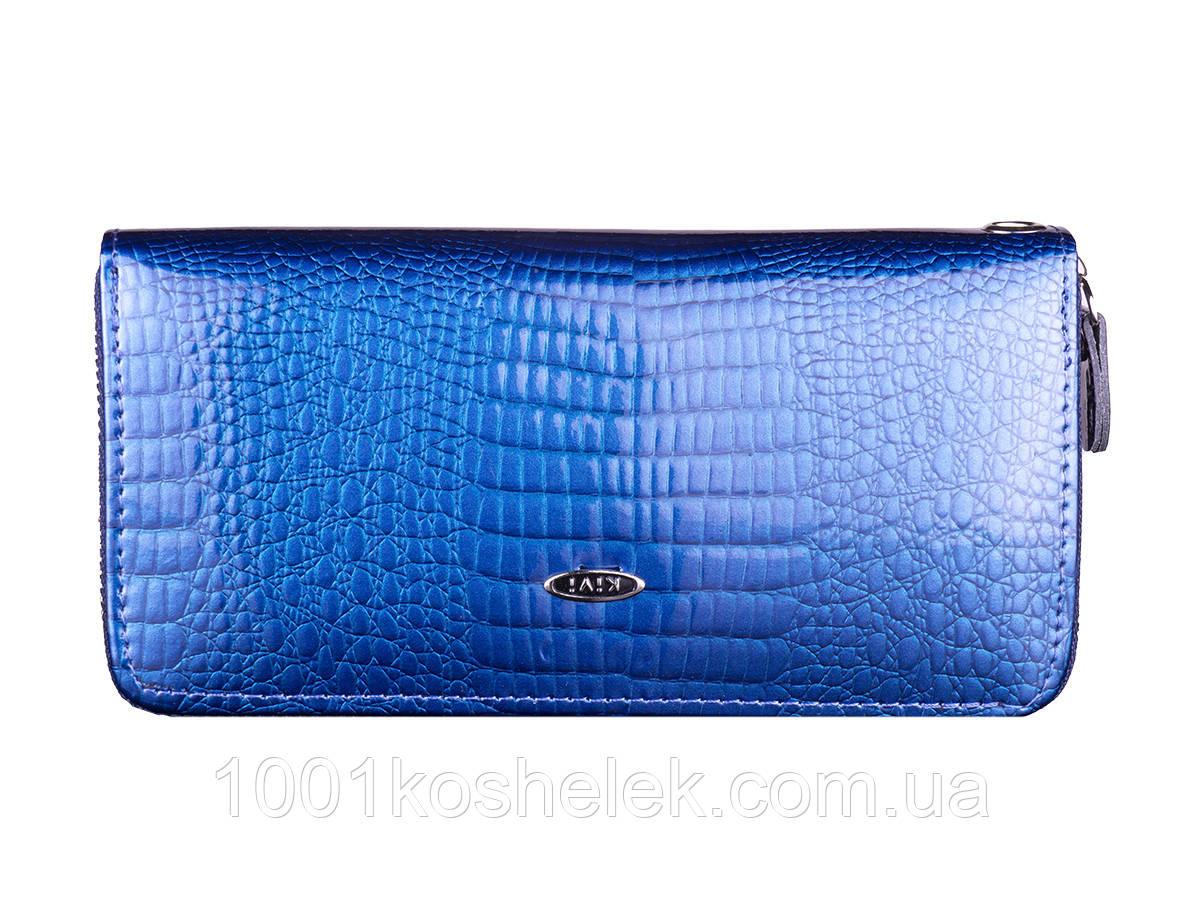 Кошелек женский лаковый на одну молнию Kivi Blue 8811