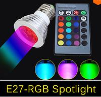 Мультицветная светодиодная лампа с пультом ДУ RGB 4W Е27, фото 1