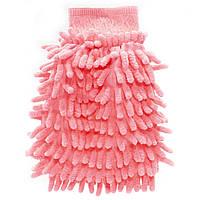 Рукавица для мытья авто Lesko 45-2A/008 Pink влажная сухая уборка мойка машины с микрофиброй