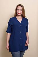 Женская летняя блуза - туника большого размера синего цвета. Размеры 52, 54, 56, 58.