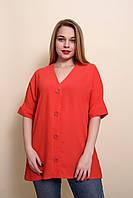 Женская летняя блуза - туника большого размера красного цвета. Размеры 52, 54, 56, 58.