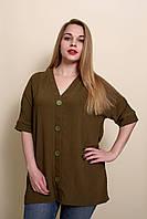 Женская летняя блуза - туника большого размера цвета хаки. Размеры 52, 54, 56, 58.