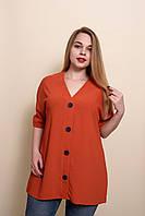 Женская летняя блуза - туника большого размера морковного цвета. Размеры 52, 54, 56, 58. ЛЕТО 2020