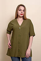 Женская летняя блуза - туника - футболка большого размера оливкового цвета.Размеры 52, 54, 56, 58.