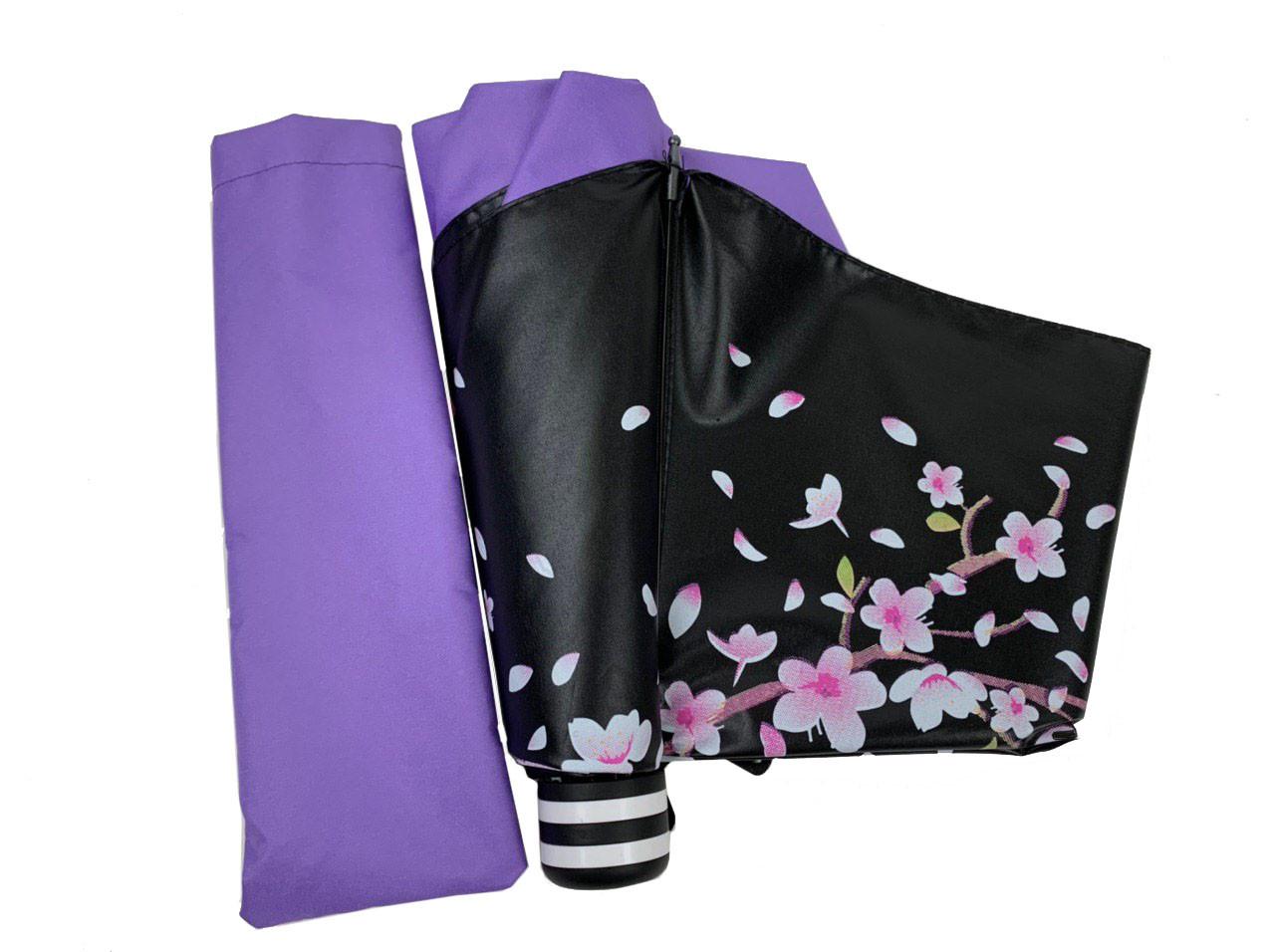Механічний жіночий парасольку в три складання з принтом гілки сакури, фіолетовий, 8308-3