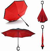Зонтик одноцветной umbrella, Зонт наоборот, Складной механический зонт, Зонт-перевертыш, Зонт трость красный