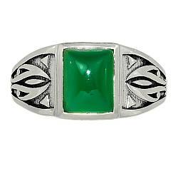 Серебряное кольцо с зеленым ониксом, 2297КЦО