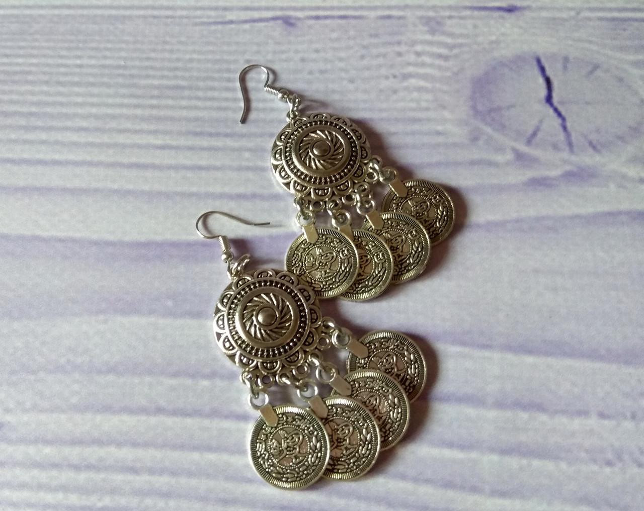 Сережки круглі Східні з монетами. Сережки для східних танців