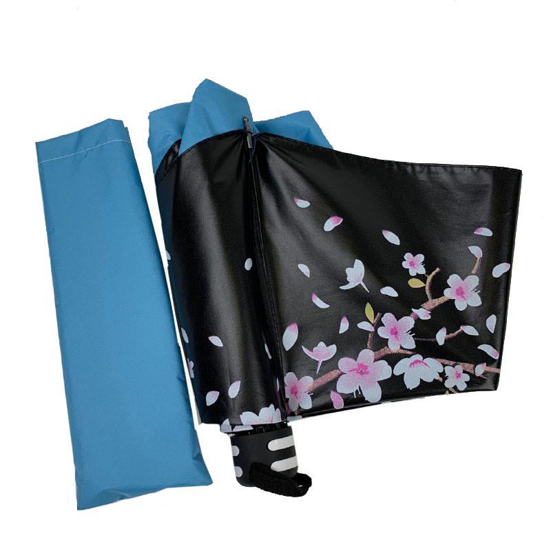 Механический женский зонт в три сложения с принтом ветки сакуры, голубой, 8308-5