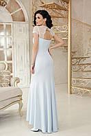Ассиметричное вечернее платье со кружевными вставками. Голубой, 3 цвета. Р-ры: 44, 46, 48, 50.