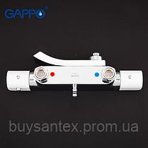 Душова система з верхнім душем, термостатом, виливши є перемикачем на лійку білий / хром G2407-50, фото 3