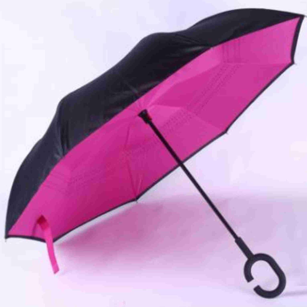 Зонтик одноцветной umbrella, Зонт наоборот, Складной механический зонт, Зонт-перевертыш, Зонт трость розовый