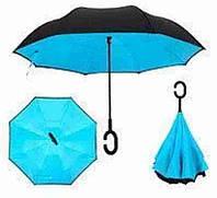 Зонтик одноцветной umbrella, Зонт наоборот, Складной механический зонт, Зонт-перевертыш, Зонт трость голубой, фото 1