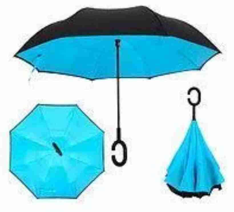 Зонтик одноцветной umbrella, Зонт наоборот, Складной механический зонт, Зонт-перевертыш, Зонт трость голубой