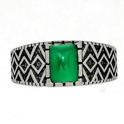 Серебряное кольцо с зеленым ониксом, 2300КЦО