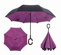 Зонтик одноцветной umbrella, Зонт наоборот, Складной механический зонт, Зонт-перевертыш, Зонт трость фиолетовы, фото 1