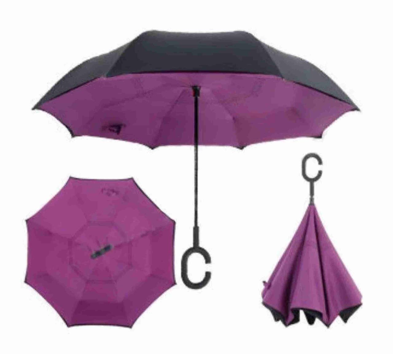 Зонтик одноцветной umbrella, Зонт наоборот, Складной механический зонт, Зонт-перевертыш, Зонт трость фиолетовы