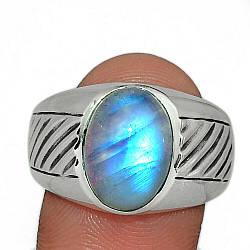 Серебряное кольцо с лунным камнем адуляр, 2301КЦА