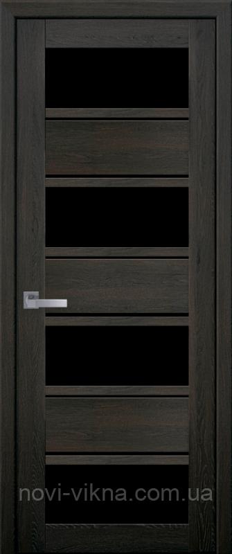 Межкомнатное полотно Элиза Дуб мускат 600 мм со стеклом BLK (черное), ПВХ Ультра.