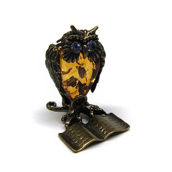 Фигурка миниатюра из бронзы и янтаря Сова