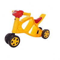 Каталка-толокар - Беговел мотоцыкл детский 4-х колесный.  Желтый 0137/03