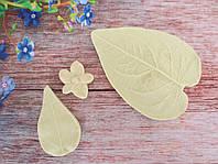 """Набор молдов """"Листья и чашелистик гиперикума"""" (р-р 8х6 см, 4,5х2,8 см, d 2,5 см), 3 шт"""