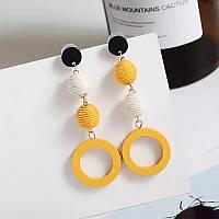 Модні дерев яні плетені жіночі сережки шнурки жовті