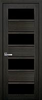 Межкомнатное полотно Элиза Дуб мускат 900 мм со стеклом BLK (черное), ПВХ Ультра.