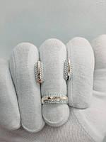 """Гарнитур серебро с золотом кольцо серьги """"Зефира"""""""