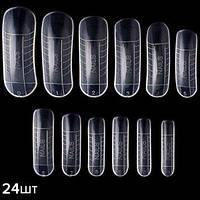 KATTi формы для наращивания верхние типсы прозрачные 24шт