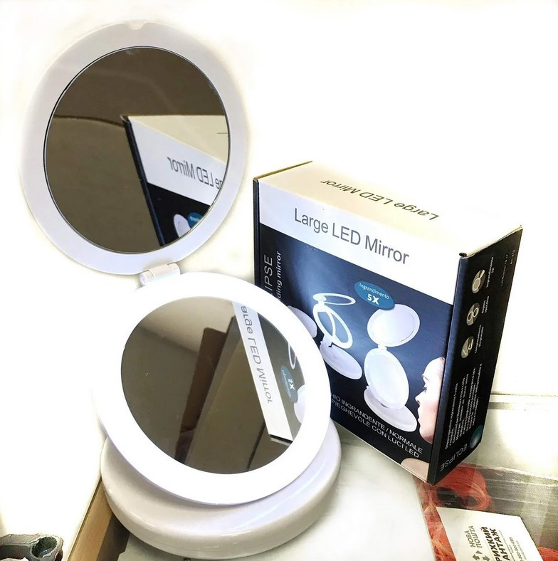 Складное зеркало с Led подсветкой Large Led Mirror Eclipse | Круглое косметическое зеркало с Led подсветкой, фото 1